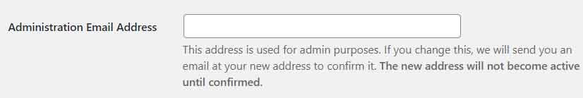 Administrator email settings in WordPress
