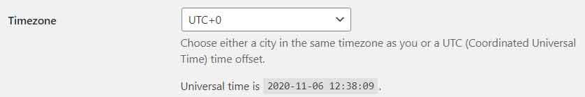 Timezone settings in WordPress